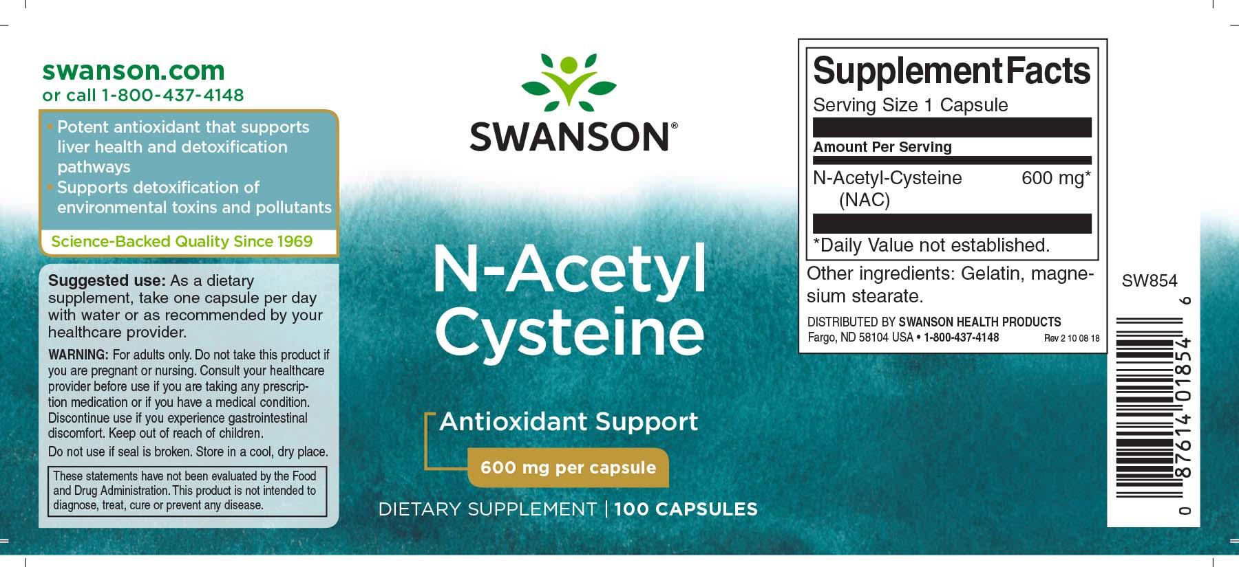 NAC N Acetyl Cysteine   Swanson Health Products Europe