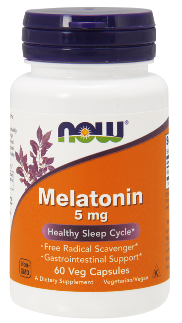 Melatonin 5 mg 60 Veg Capsules  Nowfoods